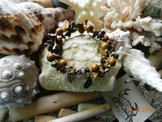 8mm Tiger Jasper and Tigers Eye chips with brass spacers memory bracelet, $17.5