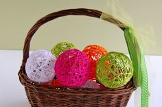 Doing this!Looks easy enough for the kids to help and put on display in a large vase on the table for Spring. Yarn ball crafts