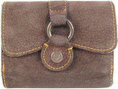 Roxy Women Wallet Bi Fold Suede Leather Brown Brass Snaps Fabric Lined.  ABA 9 #ROXY #Bifold