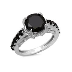 Engagement Ring 4.50 Carat (ctw)14K White Gold Round Black and White... ($1,390) ❤ liked on Polyvore featuring jewelry, rings, white, bridal rings, diamond engagement rings, solitaire engagement rings, diamond rings and black and white ring