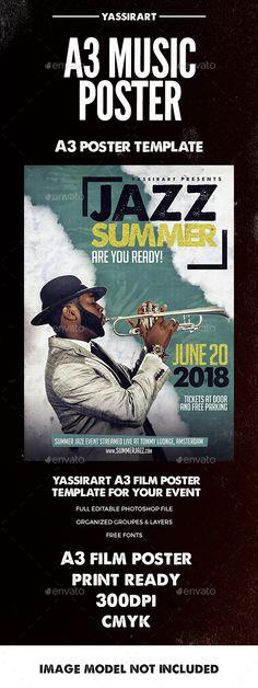 Jazz Summer Poster A3 Template PSD