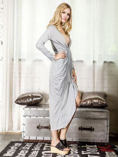 Choies Women's Jersey Gray Warp Hi-lo Ruched Asymmetric Long Sleeves Dress Large at Amazon Women's Clothing store: