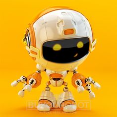Lovely bright robotic toy on juicy orange background. 3d render.
