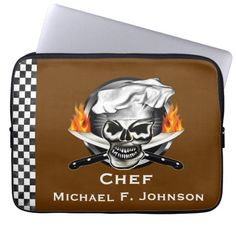 Add your name to this customizable Chef Skull Laptop Sleeve features a cool chef skull with flaming knives and checkered side panel. The background color can be changed to one of your choice. Great chef gift! Visit www.zazzle.com/thechefshoppe to see more culinary themed skulls on many different products!