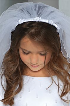Satin wrapped First Communion Headband and attached Veil