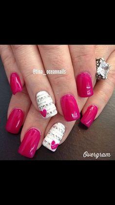 Hearts Of Love Nail Art Designs ~ Rhinestones