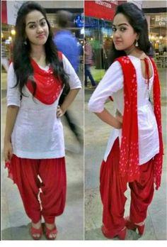 Red and white Salwar Kameez Neck Designs, Patiala Suit Designs, Salwar Designs, Kurti Designs Party Wear, Patiala Dress, Punjabi Dress, Patiala Salwar, Anarkali, Dress Indian Style