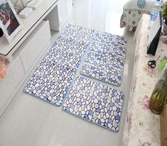 Flower Printed Anti-slip Bathroom Carpet Floor Mats Pad 3 Pcs/set Bath Mat For Kitchen Doormats Living Room, tapis salle de bain