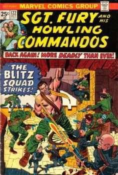 Back to title selection: Comics S: Sgt. Fury and his Howling Commandos Vol 1 Continues from Sgt Fury and his Howling Commandos Vol 120 War Comics, Marvel Comics Art, Marvel Heroes, Vintage Comic Books, Vintage Comics, Comic Books Art, Comic Art, Book Art, Classic Comics