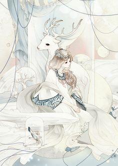 anime girl with deer illustrations Manga Anime, Art Manga, Art And Illustration, Illustrations, Fantasy Kunst, Fantasy Art, Chibi, Photo Manga, Character Art