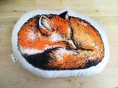 Organic Animal Pillow in Sleeping Fox  Priority by blackdogcircus / fox pillow