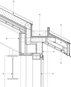 Gutter Detail 1 curtain wall with integrated wood grille 2 steel structure 3 standing-seam metal roof 4 concealed gutter 5 steel outrigger system 6 wood deck soffit 7 aluminum fascia 8 wood veneer bulkhead Diy Roofing, Modern Roofing, Steel Roofing, Roofing Shingles, Design Patio, Roof Design, Roof Structure, Steel Structure, Roof Soffits