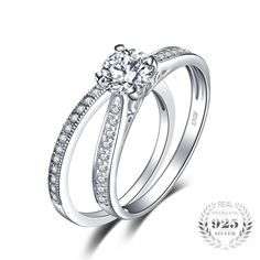 Buy JewelryPalace Cubic Zirconia Anniversary Wedding Band Engagement Solitaire Ring Bridal Sets 925 Sterling Silver at Wish - Shopping Made Fun Engagement Solitaire, Engagement Ring Prices, Wedding Rings Solitaire, Engagement Wedding Ring Sets, Engagement Ring Settings, Wedding Bands, Bling Wedding, Wedding Stuff, Wedding Ideas