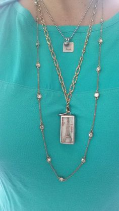 """My look of the day! Square Word Charm (""""Hope""""), $14 with Swarovski Charm, $8  Here  There Necklace - long loops linked together, $34 paired with Eiffel Tower Charm, $42  Spot On Necklace with beautiful glass stones, get this one for FREE if you host a party!"""