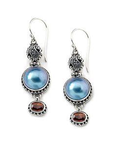 Samuel B. Silver Tourmaline & 12mm Mobe Pearl Drop Earrings