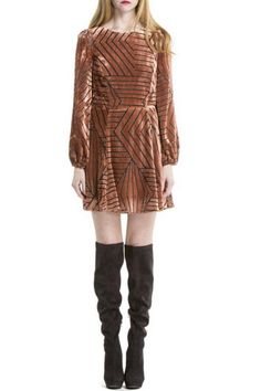 Gorgeous burnt orange velvet and black mesh swing dress. Features long sleeves and side zipper access. Wear with thigh high suede boots.  Nouveau Mini Dress by Line & Dot. Clothing - Dresses - Long Sleeve Clothing - Dresses - Mini Park City, Utah