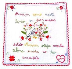 Lenço de namorados Crewel Embroidery, So Little Time, Cross Stitch, Bullet Journal, Printables, My Love, Pattern, Minho, Crafts