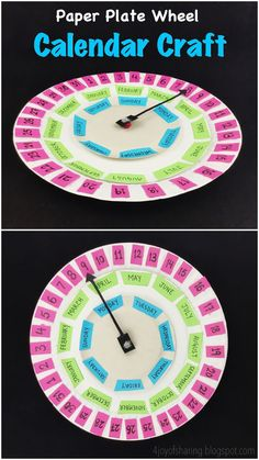 Paper Plate Calendar Craft for kids. Isn't this a really fun way to introduce a calendar to kids? Kids get to sort numbers, see new words and learn about dates, days and months in a playful manner. Calendar Time, Kids Calendar, School Calendar, Fun Arts And Crafts, Easy Crafts For Kids, Fun Crafts, Simple Crafts, Paper Plate Crafts, Paper Plates