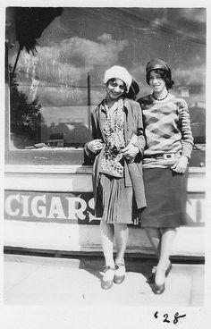 Stellar street snapshot of two jazz-babies (aka: flappers), 1928.