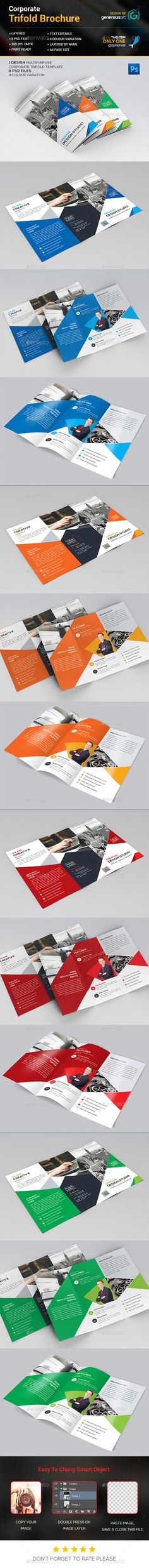 Clean Red Trifold Brochure Template LAYOUT Brochure - psd brochure design inspiration