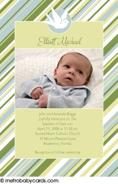 Photo Baptism/Christening Invitations :: Sweet Stripes Blue Design