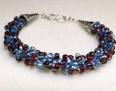 Handmade Kumihimo Bracelet - Aquamarine and Amethyst silver lined beads - beads and fiber on Etsy, $25.00
