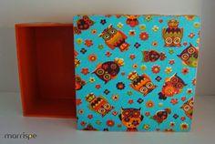 Caixa em MDF revestida com tecido de corujas :) #artesanato #corujas #mdf #tecidos #estampas #box #diy #handmade