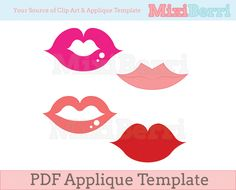 Fabric Applique Template PDF - Sexy Lips