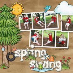 """Spring Swing"" Spring scrapbook layout ideas   digital scrapbooking page by Keela"