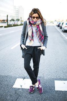 plaid scarf / grey blazer / black bottoms / burgundy sneaks