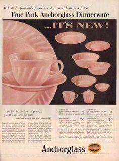 pink milk glass dinnerware by Anchor Hocking