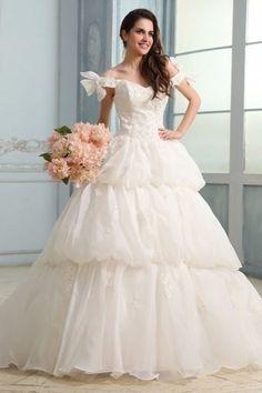 Princess Off-the-shoulder Chapel Train Organza Vintage Wedding Dress with Lace Corset