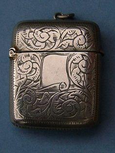 Victorian Antique Silver Plate Vesta Case / Match by BiminiCricket, $50.00