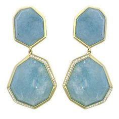 New Ippolita 18K Gold Diamond Milky Aquamarine Rock Candy Earrings
