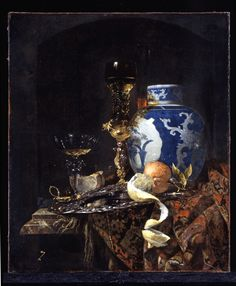 KALF, Willem [Dutch Baroque Era Painter, Still-Life with a Late Ming Ginger Jar 1669 Oil on canvas, 77 x 66 cm Museum of Art, Indianapolis Dutch Still Life, Still Life Art, Vanitas Paintings, Indianapolis Museum, Dutch Golden Age, Still Life Oil Painting, Jar Painting, Dutch Painters, Dutch Artists