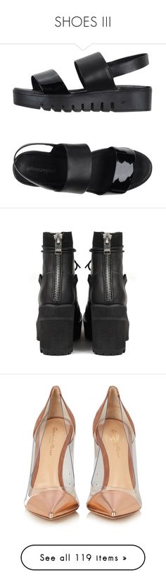 """SHOES III"" by carmen-vou ❤ liked on Polyvore featuring shoes, sandals, black, clothes - shoes, rubber sole sandals, black leather sandals, black wedge heel sandals, wedge sandals, wedge heel shoes and boots"