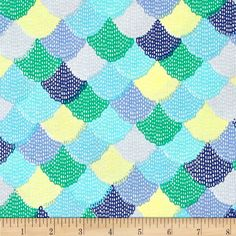 beautiful scallop patterned fabric in blues and greens from fabric.com