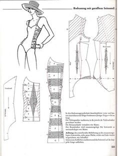 bathing suit pattern with ruched side panels Underwear Pattern, Lingerie Patterns, Sewing Lingerie, Clothing Patterns, Techniques Couture, Sewing Techniques, Sewing Patterns Free, Vintage Patterns, Doily Patterns