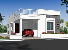 elevations of independent houses House Front Wall Design, Single Floor House Design, Village House Design, Bungalow House Design, Bungalow House Plans, Modern House Plans, Modern Houses, Front Elevation Designs, House Elevation