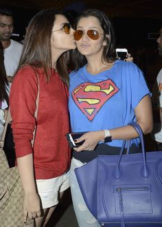 Parineeti Chopra and Sania Mirza at Mumbai airport. #Bollywood #Fashion #Style #Beauty #Hot