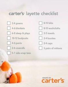 Use this checklist to make sure you get all the essentials you need for baby's arrival. #carters #littlelayette