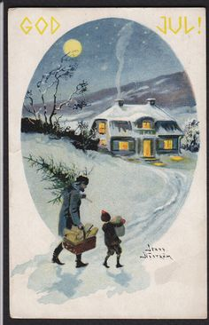 Christmas-God Jul-Tree-Snow-Artist-Jenny Nystrom-Swedish Postcard | eBay