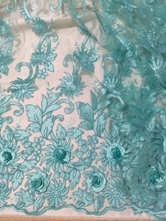 """SEAFOAM CORDED EMBROIDERY MESH LACE FABRIC 50"""" WiIDE 1 YARD #laceembroiderymesh"""