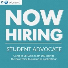 #Repost @asi_csusb  NOW HIRING: Student Advocate positions are now available! If representing students on a campus wide level interests you come by our office SMSU 108 for more information and to pick up an application! #ASICSUSB #csusb #csusbsmsu #goyotes