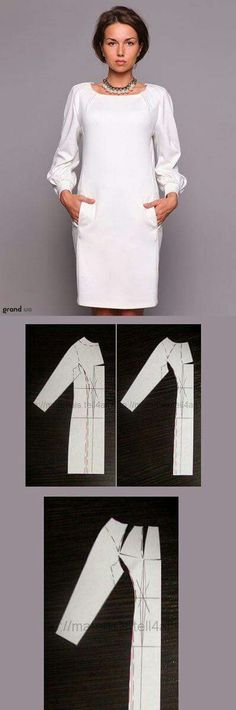 Robe, décolleté carré, manches longues et un peu bouffantes + poches...