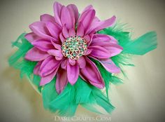 Kate Hair Flower #DEHF51 Pin up hair flower in purple with teal rhinestone center and surrounded by teal feathers www.darecrafts.com #darecrafts #creativelife #inspiration #costuming #divergent #embellishments
