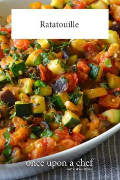 Hailing from Provence, a region in the south of France near the Mediterranean Sea, ratatouille is a bright and chunky summer vegetable stew, rich with olive oil and fragrant with garlic and herbs. Veggie Dishes, Food Dishes, Side Dishes, Cooking Recipes, Healthy Recipes, Healthy Meals, Healthy Eggplant Recipes, Mediterranean Vegetarian Recipes, Vegetarian Dishes Healthy