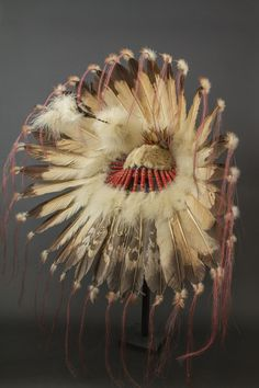 Chief War Bonnet - Back | Plains Indians, USA Eagle feathers, horsehair, beads, quill, fabric, fur Circa 1920-1930