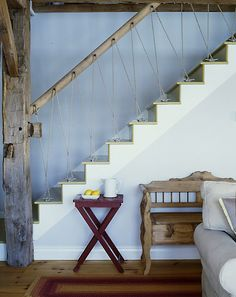 Another great example of a stairway with #nautical #cleats. See the cleat stairway on Completely Coastal here: http://www.completely-coastal.com/2011/05/nautical-staircases-with-rope-railing.html
