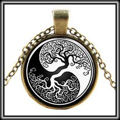 YIN YANG TREE NECKLACE 🎉HP🎉 Gorgeous glass cabochon medallion necklace. Tibetan Silver. 💞 Jewelry Necklaces